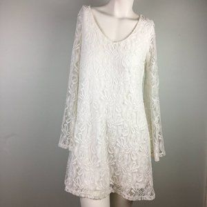 Socialite White Lace Bell Sleeves Mini Dress Lined